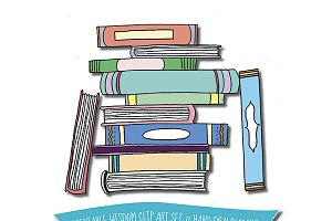 Hand drawn books multicolored