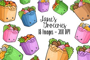 Kawaii Grocery Bags Clipart