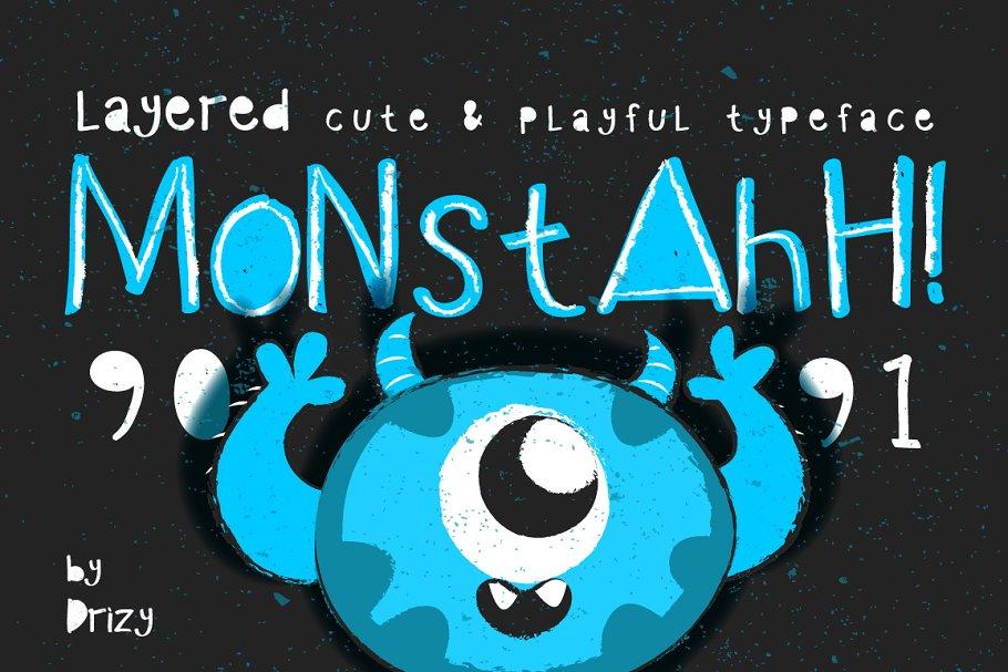 Monstahh Layered Typeface ~ Display Fonts ~ Creative Market