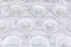 rows of wine glass bottoms