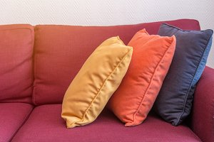 decorative of pillows on casual sofa