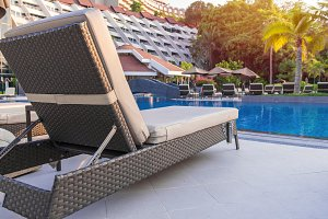 pool bed near swimming pool