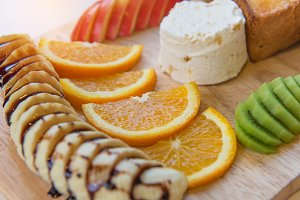 honey toast and ice cream & Fruit