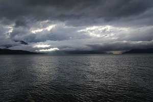 Harrison Lake during a storm