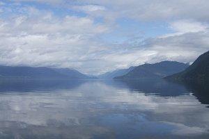 Water is calm on Harrison Lake