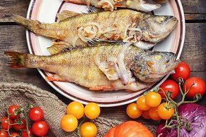 Three fried perch