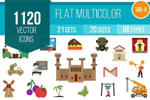 1120 Flat Multicolor Icons (V6)