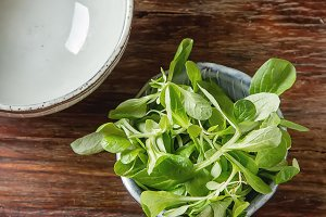 Fresh green salad with salt and pepper. Dark wood background. Top view