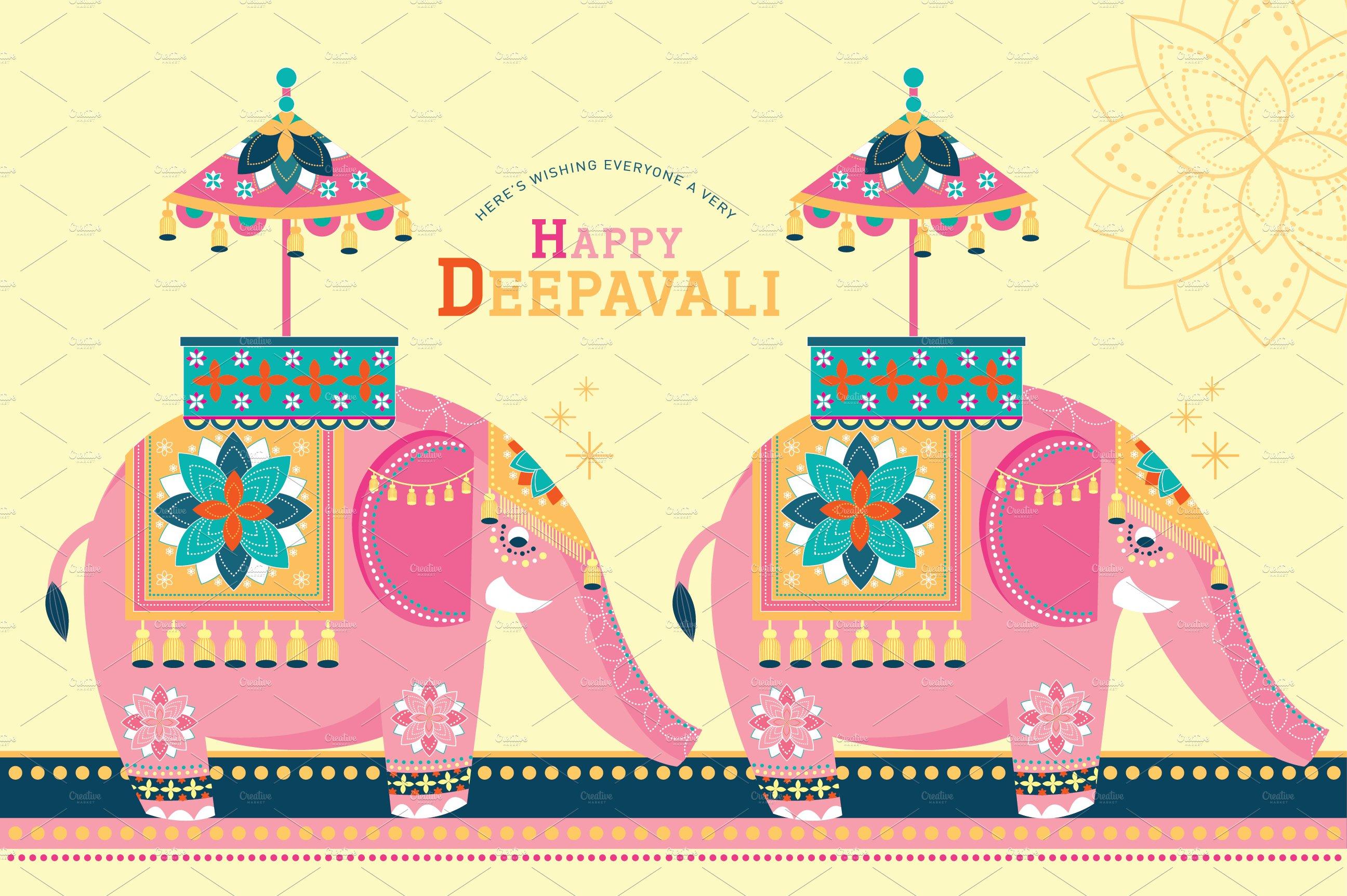 elephant/diwali template vector ~ Illustrations ~ Creative Market