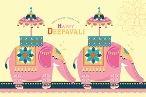 elephant/diwali template vector