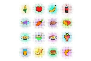 Food icons set, pop-art style