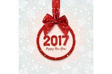 Happy New Year 2017 round banner.