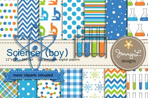 Science Boy Digital Papers Cliparts