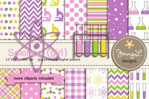 Science Girl Digital Papers Cliparts