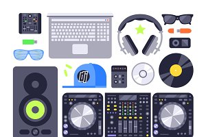 Dj music equipment vector set
