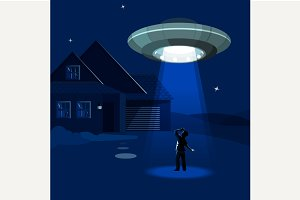 Aliens spaceship abducts the man
