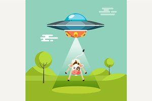 Aliens spaceship abducts the cow