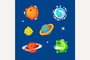 Set of cartoony aliens planets