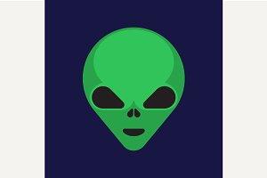 Green cartoony aliens head