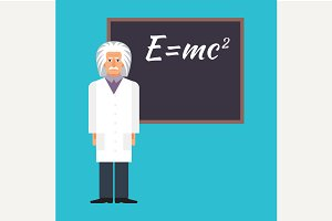 Einstein next to the blackboard