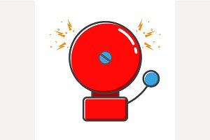 Red retro ringing alarm bell