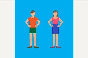 Boy and girl standing akimbo