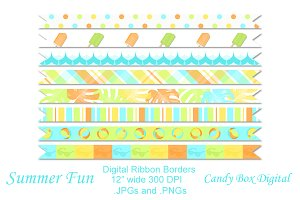 Summer Fun Digital Ribbon Borders