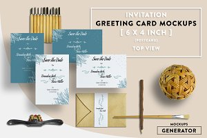 Invitation Greeting Card Mockups 6x4