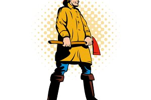 Fireman Fire Fighter Holding Ax