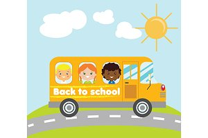 Back to school yellow bus with kids