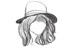 Hand drawn hair and hat
