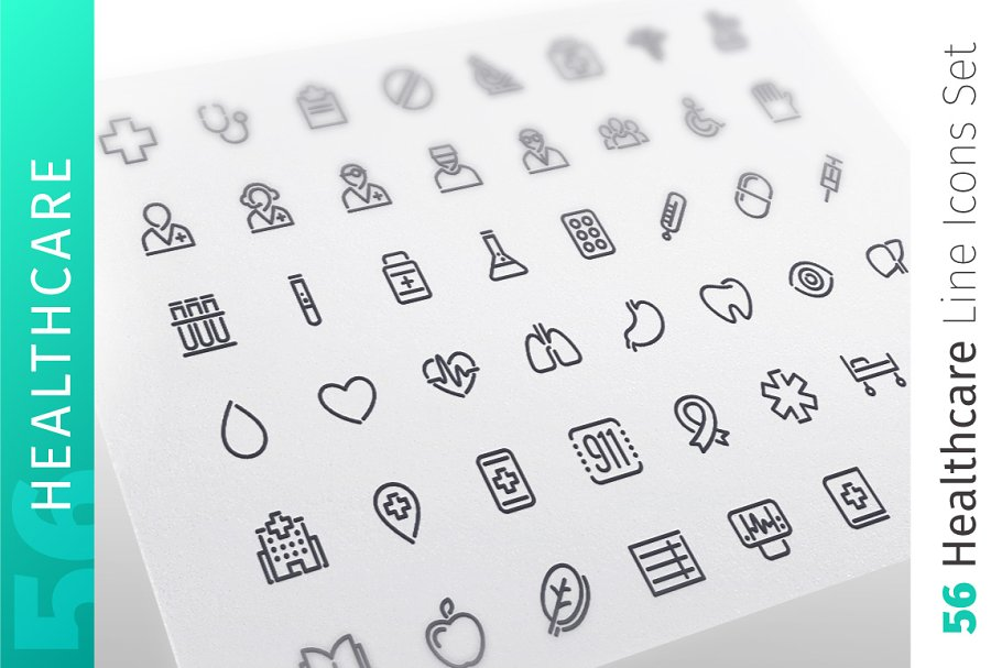Healthcare Line Icons Set
