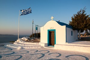 Greece white church with flag