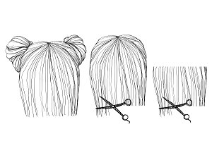 Hand drawn hairstyle