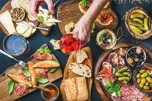 Italian wine snacks set
