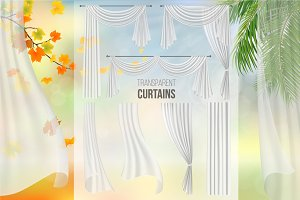 Set vector transparent curtains