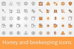 Honey and beekeeping icons set