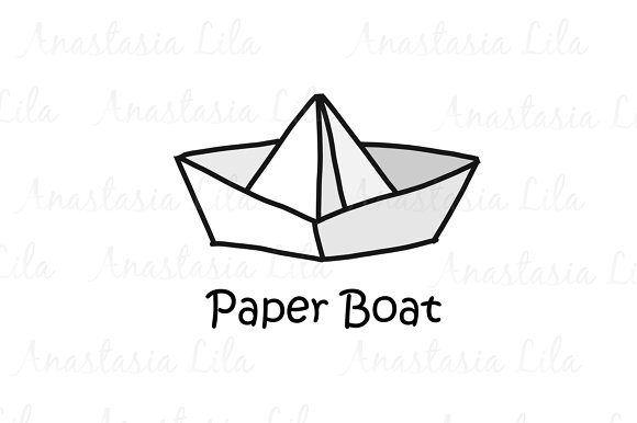 Paper Boat Cartoon Concept Logo