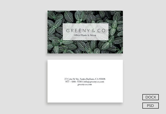 Greeny Business Card Business Card Templates Creative Market