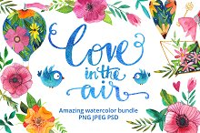 Love in the air - watercolor bundle