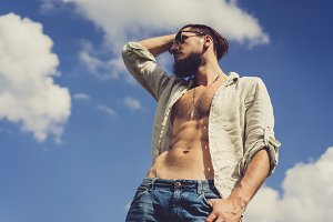 Handsome bearded fashion model man