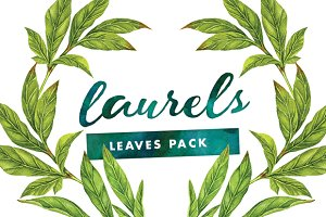 Laurels - Watercolor Leaves