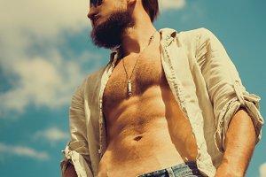 man with naked torso