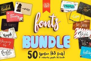 %75 Off 50 Big Font Bundle