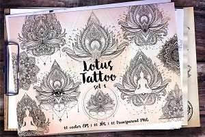 Lotus. Tattoo Design Set. Vol.1