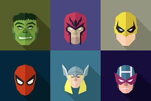 SuperHeroes Masks Flat (Set 16)