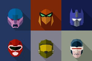 SuperHeroes Masks Flat (Set 17)