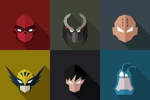 SuperHeroes Masks Flat (Set 18)