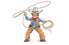 Cowboy with lasso. American Western character.
