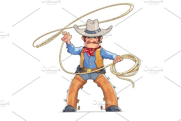 Cowboy with lasso. American Western character. - Illustrations